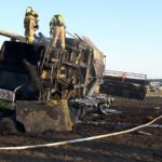 Spłonęło 20 hektarów zboża i kombajn (2)