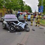 Zderzenie osobówki i motocykla na Nacławskiej (1)